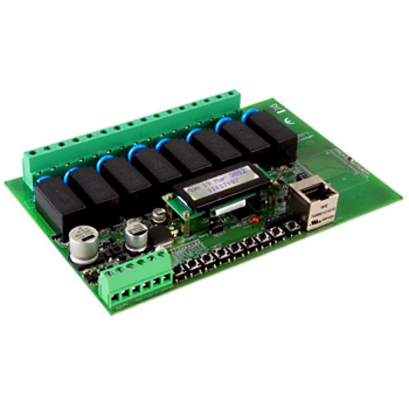 Interfaccia Ethernet LAN output 8 relè 1 input display LCD timer WEB e APP VM201
