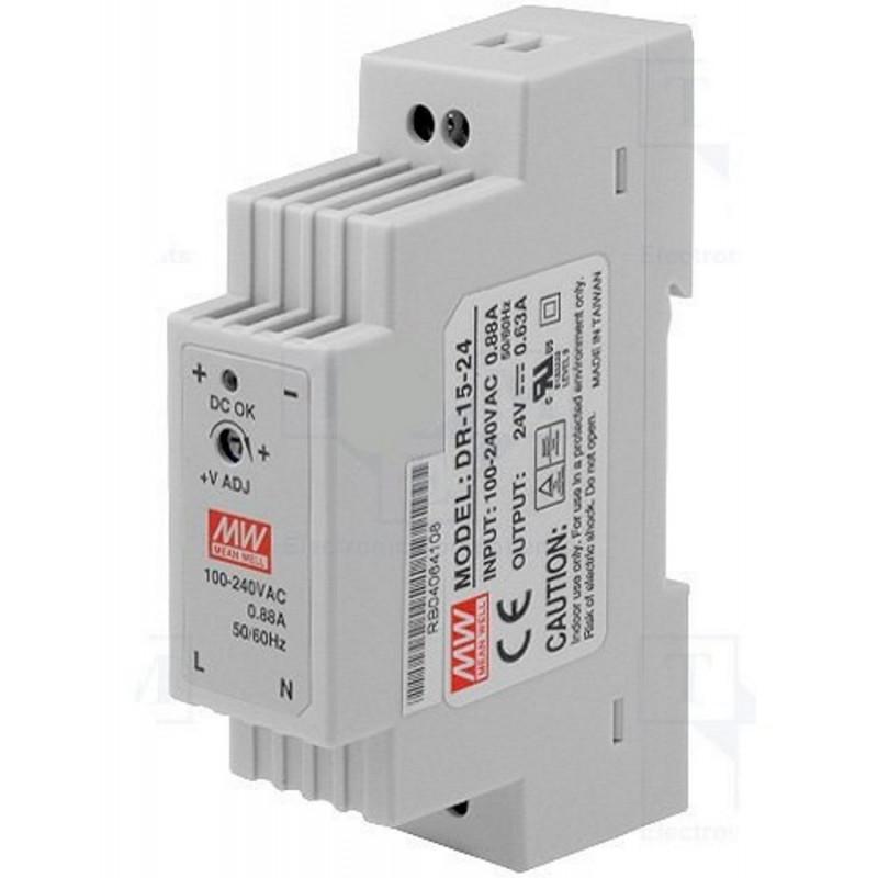 Alimentatore barra DIN universale switching stabilizzato 24V DC 0,63A DR-15-24