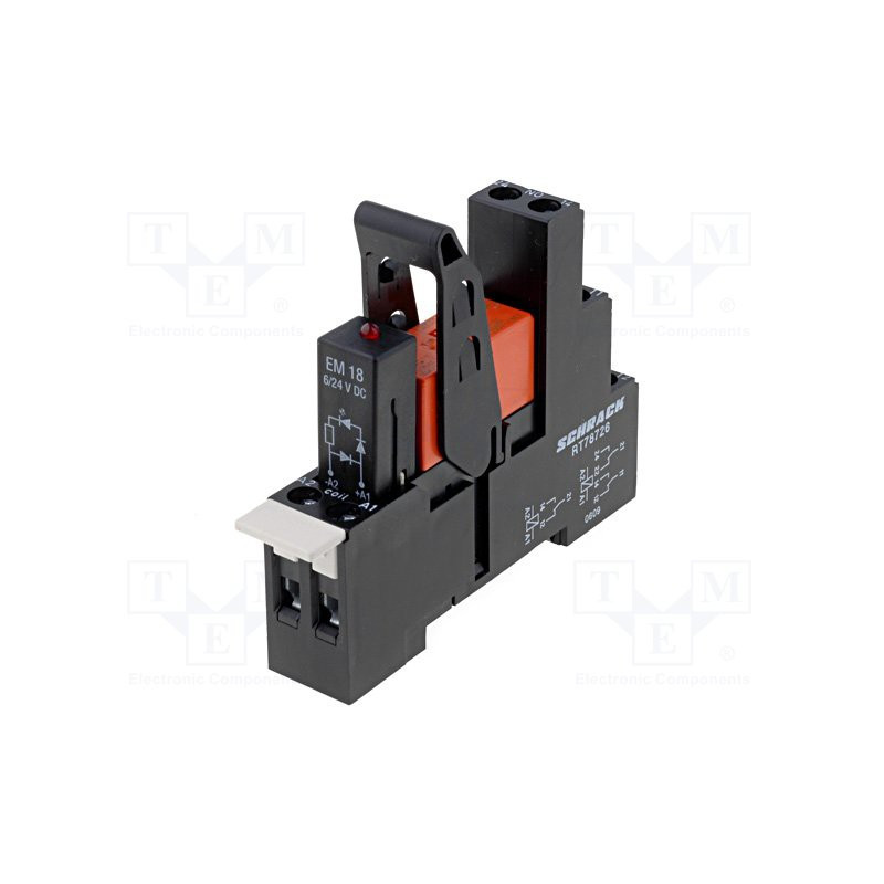 DPDT 8A 250V AC relay module with 24V DC coil with DIN rail support socket