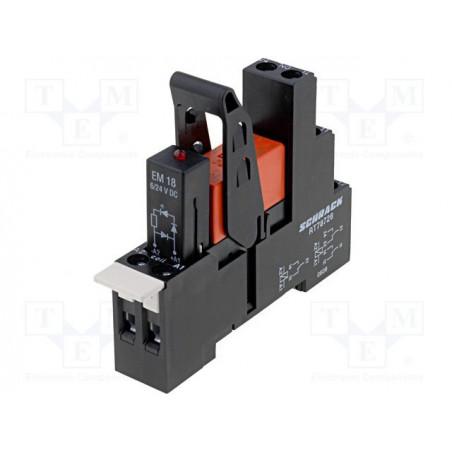 Modulo relè DPDT 8A 250V AC bobina 24V DC con zoccolo supporto barra DIN