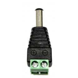 Adaptador de enchufe de CC macho estándar con 2 terminales de tornillo