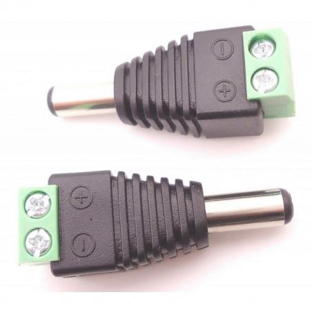 Adattatore spinotto plug DC standard maschio con 2 morsetti a vite