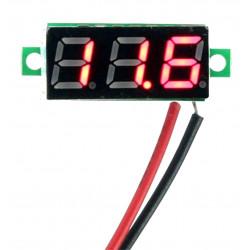 Mini voltímetro con pantalla luminosa ROJA de 2,5-30 V 2 hilos