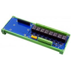 Scheda 8 Relè SPDT 5A 250V optoisolati guida DIN per Raspberry Pi e compatibili
