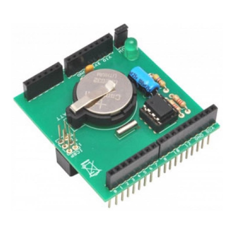 Shield Arduino orologio calendario RTC DS1307 con batteria tampone e LED