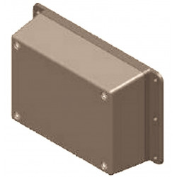 Caja electrónica de plástico gris con bandas de fijación laterales 137x84x41 mm