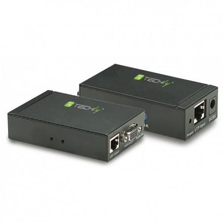 Extender amplificatore prolunga VGA + Audio su cavo tipo Ethernet Cat 5/6 fino a 300m