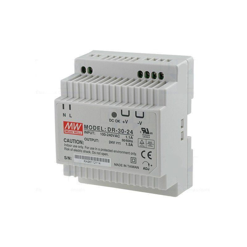 Alimentatore barra DIN universale switching stabilizzato 24V DC 1,5A DR-30-24
