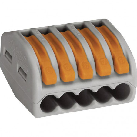 Morsetto universale con 5 innesti rapidi per fili flessibili e rigidi WAGO 222-415