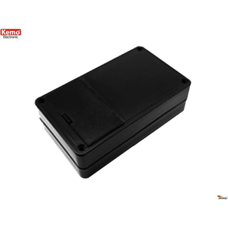 Contenitore plastico nero 104x62x30 mm con alloggiamento batteria 9V, AAA