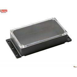 Black plastic container with transparent cover 121x71x31 mm that can be fixed to the wall