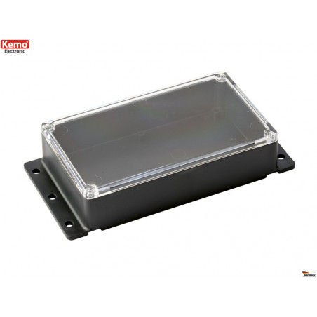 Contenitore plastico nero coperchio trasparente 121x71x31 mm fissabile a muro