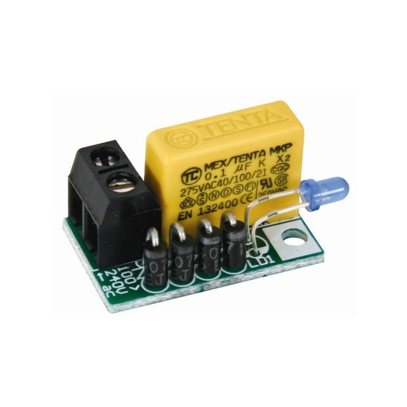 Segnalatore compatto spia presenza tensione LED blu alimentazione 100-240V AC 50-60Hz