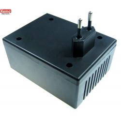 Caja de plástico negra 105 x 78 x 67 mm conector bipolar 10A integrado