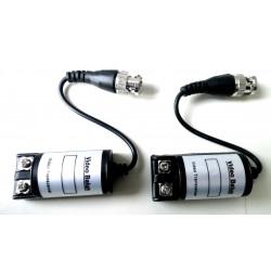 Par de video balun para conectar cámaras analógicas con cable CAT 5E trenzado