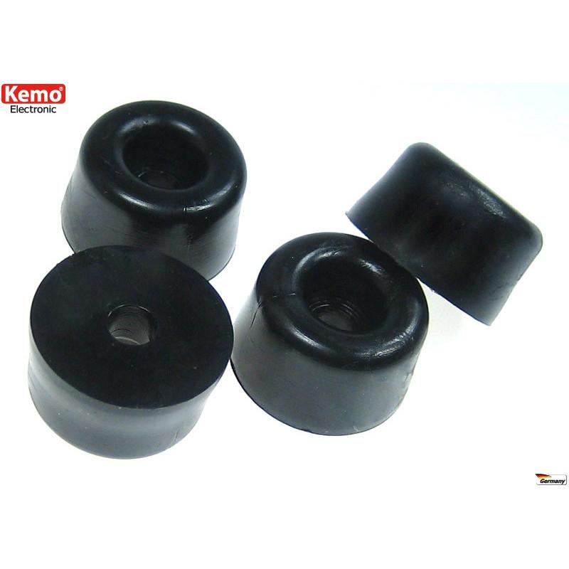 Set 50 piedini in gomma nero per case e contenitori piccolo 12 x 7 mm