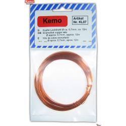 Alambre de cobre esmaltado diámetro 0,7 mm longitud 12 m
