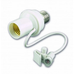Interruptor crepuscular para bombilla E27 con sensor de hilo
