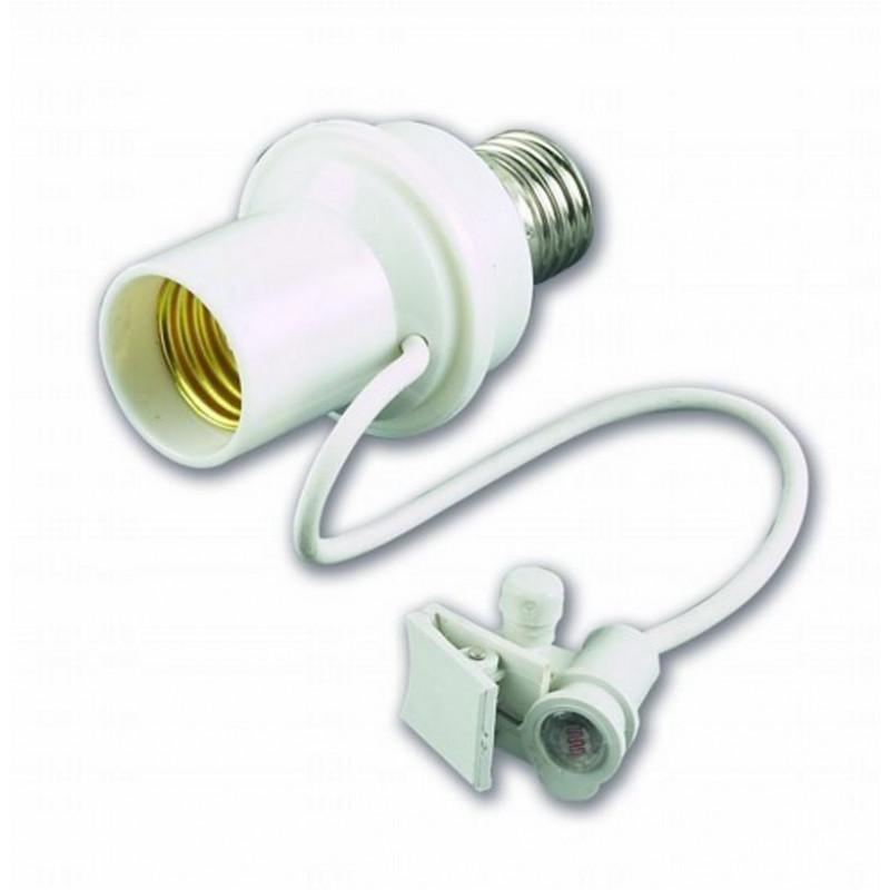 Interruttore crepuscolare per lampadina E27 con sensore a filo