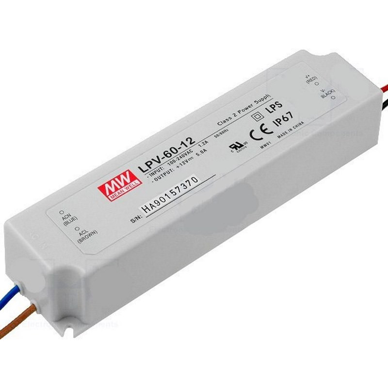 Alimentatore universale switching stabilizzato 12V DC 5A IP67 LPV-60-12