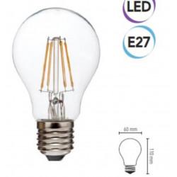 LED filament bulb 6W E27 810 lumen warm class A + Electraline 63307
