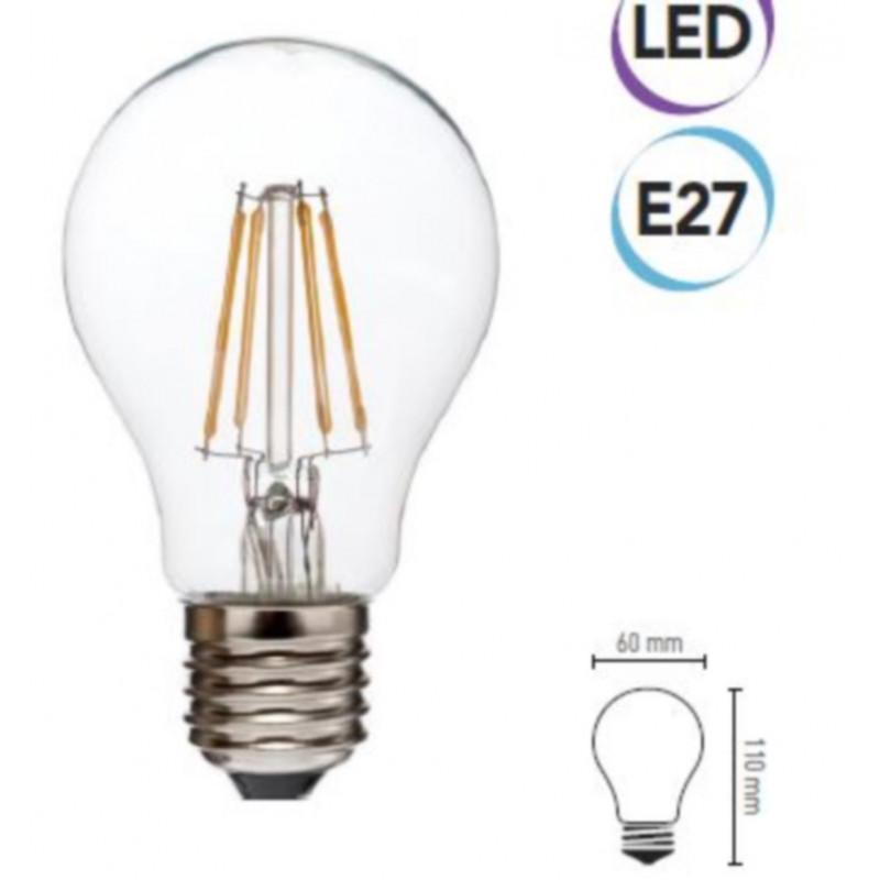 Lampadina LED filamento 6W E27 810 lumen calda classe A+ Electraline 63307