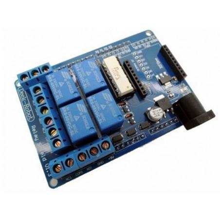 Shield Arduino output 4 canali relè 3A con alimentazione 7-12V DC