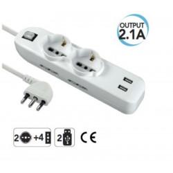 USB-Mehrfachsteckdose, Italienisch / Deutsch mit Hauptschalter Electraline 62087