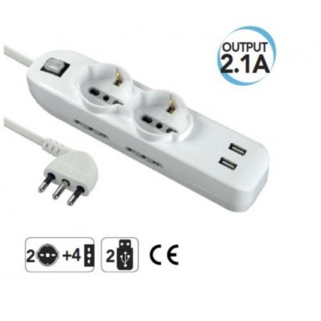 Multipresa  USB, italiano/tedesco con interruttore generale  electraline 62087