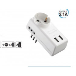 Adaptador reductor con enchufe giratorio 16A 230V electraline 71033