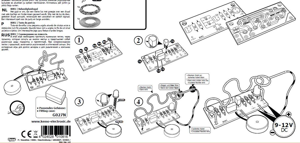 KIT gioco abilità manuale elettronico classico con anello e filo 9-12V DC
