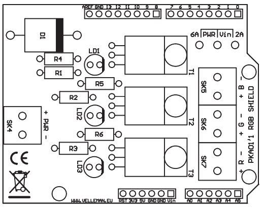 shield rgb pwm arduino controllo led max 50v 6a ideale per
